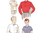 1950s Boy's Shirt Sewing Pattern /  Vintage Butterick 50s Boy's Long Sleeve and Short Sleeve Shirt Sewing Pattern 5839
