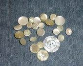 vintage  22 shank buttons and 2 plain, 2 hole buttons, all shiny white