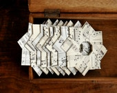 "Vintage paper folded stars (Sheet music). Gift decoration. 4"" x 4"".  Pack of 8."