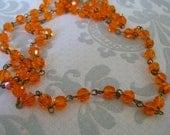 Handmade Linked Beaded Chain with 6mm Sun Crystal