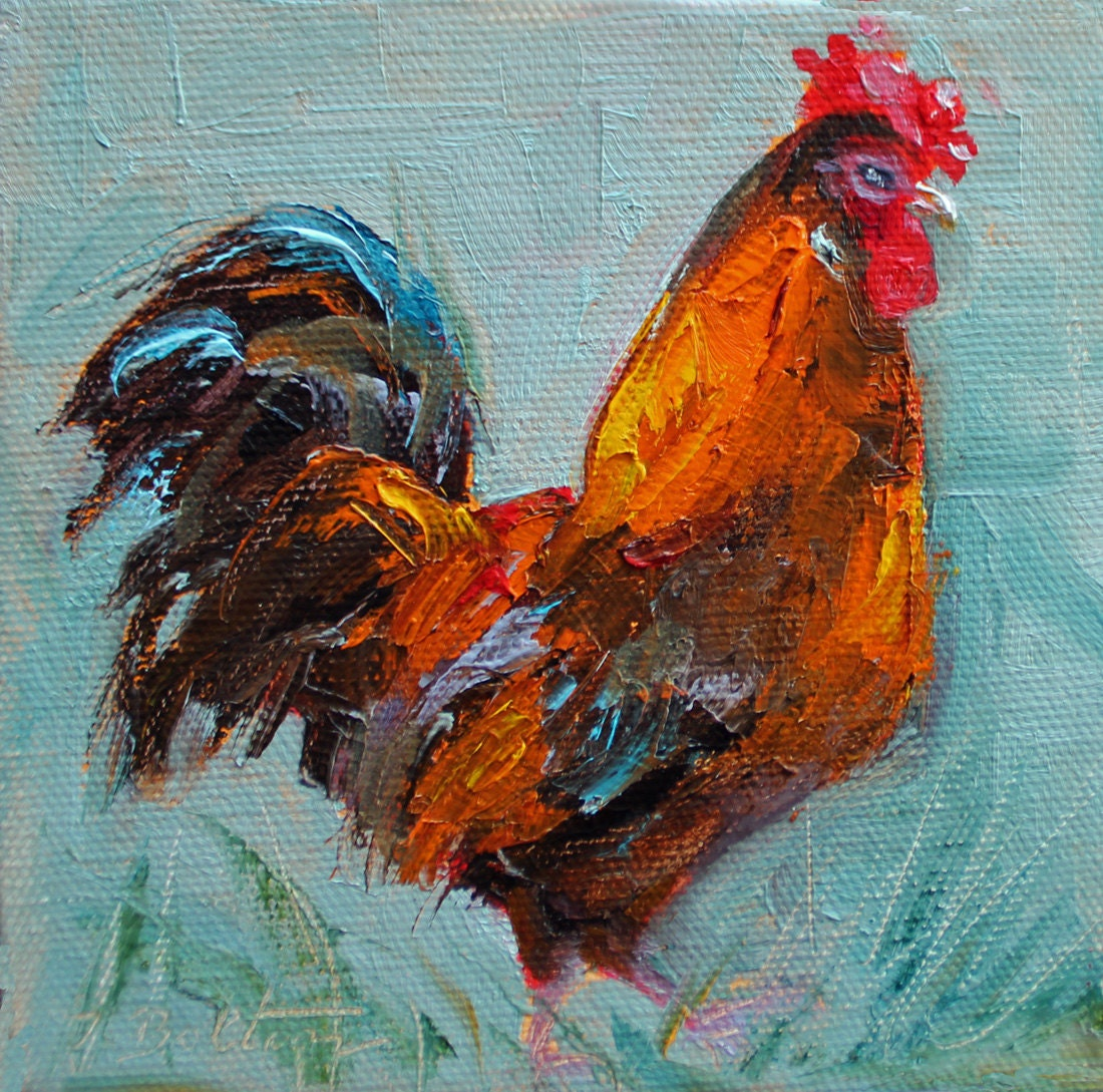 Rooster original mini oil painting rooster painting small for What paint for canvas