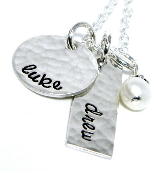 Personalized Necklace - Hand Stamped Jewelry - Personalized Mom Necklace