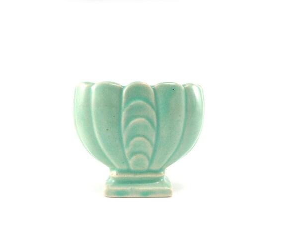 Art deco vase - small jade green ceramic made in USA