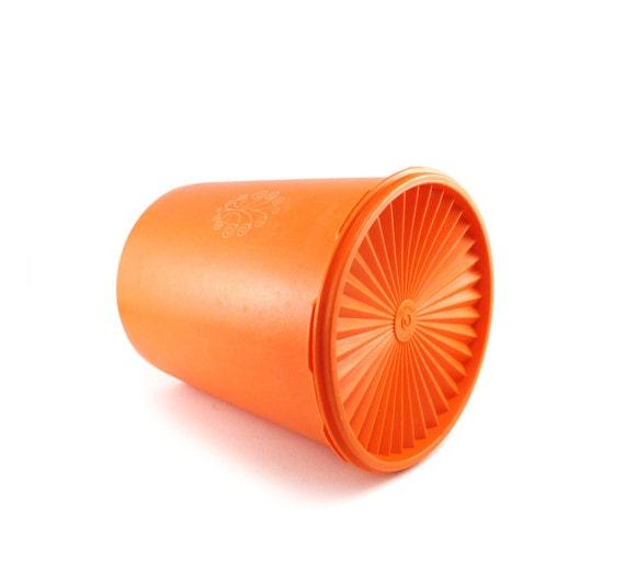Orange tupperware canister large vintage plastic food storage