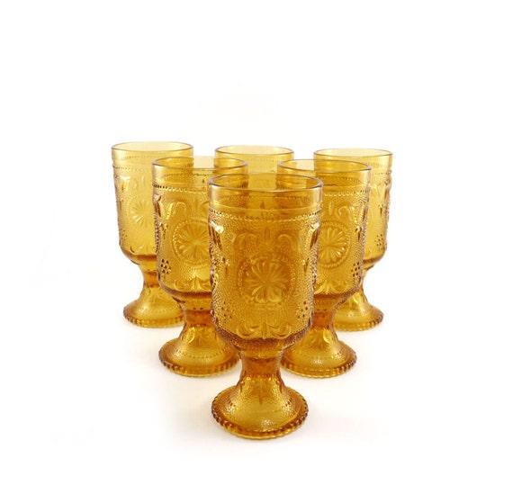 Vintage amber stemware - set of 6 honey gold cut glasses by Brockway glass Duz detergent
