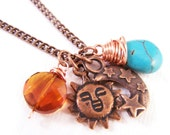 Handcrafted Jewelry Sun and Moon Charms with Turquoise and glass bead copper necklace