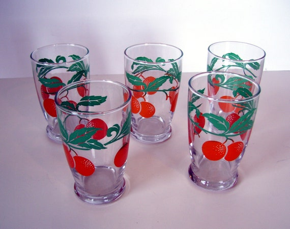 set of vintage orange and green painted juice glasses