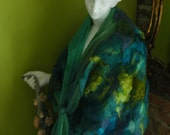 Waterfall silk Green nuno felted angora scarf