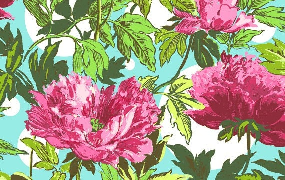 Amy Butler Soul Blossoms Fabric - 1 Yard Twilight Peony in Amaranth