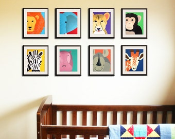 Jungle nursery décor. Jungle themed nursery. SET OF 8 Safari animal nursery prints for children, kids decor, Jungle nursery ideas