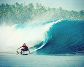 Surf photograph: Tropical - 8x10 surf photo with a surfer riding the tube of a blue ocean wave. Buy one get one free sale