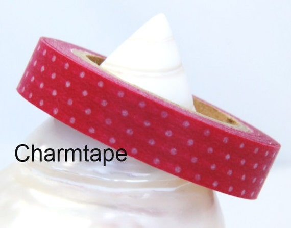 Pink Washi Masking Tape Roll Adhesive Stickers with white polka dots WT33 1cm width