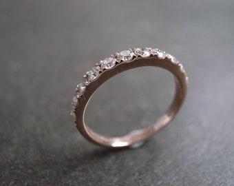 Wedding Anniversary Diamond Band Bridal Ring in 14K Rose Gold, Diamond Wedding Band, Diamond Engagement Ring, Diamond Ring, Rose Gold Ring