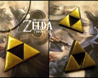 Triforce Necklace and Earring (POST) Set - Legend of Zelda - Nintendo