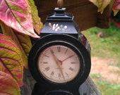 Vintage Black Miniature Alarm Clock with Flowers