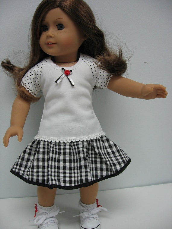 Back to School Two Piece Skirt and Knit Top for American Girl Dolls and 18 Inch Dolls
