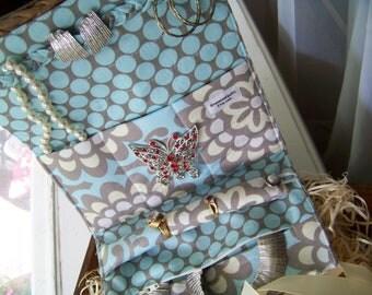 """Jewelry Roll Jewelry Clutch in Amy Butler's """"Wallflower in Sky"""" Fabric"""