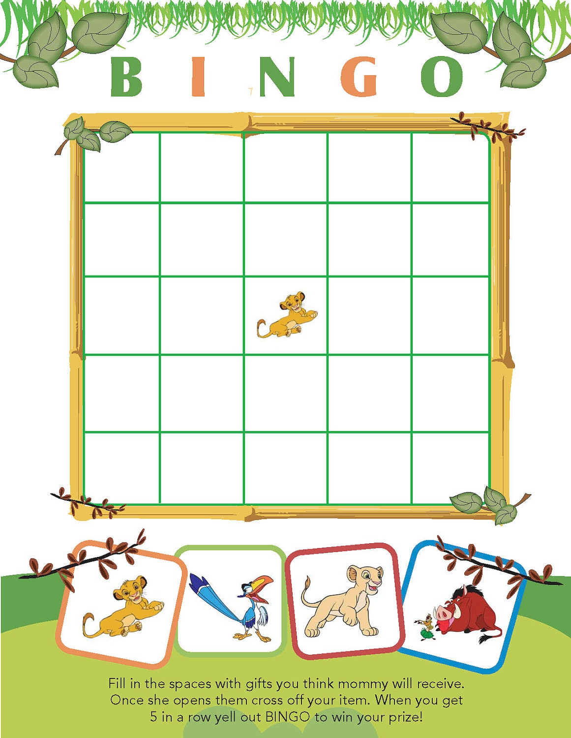 Printable Lion King Themed Baby Shower Bingo