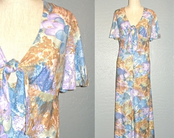 Vintage 70s boho dress WATERCOLOR FLORAL maxi - L