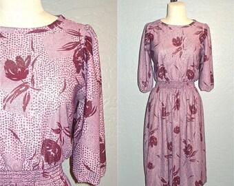 Vintage 70s boho dress PLUM FLORAL retro abstract print - S