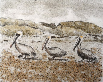 Pelican Parade 8 x 10 sand painting  original art work