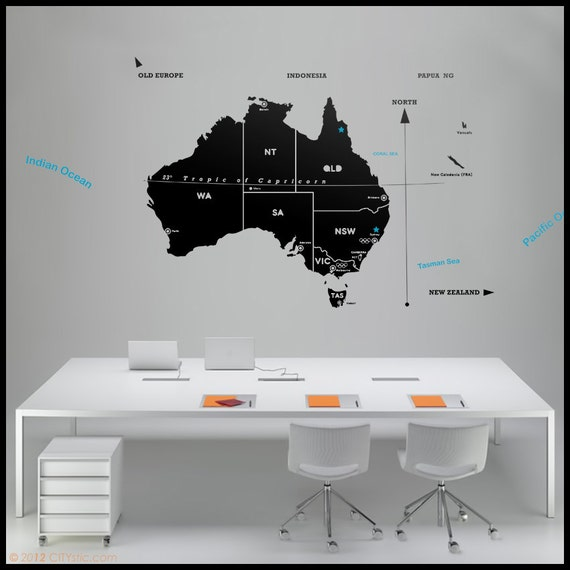 AUSTRALIA MAP Wall DECAL Map Of All Australia With Major - Vinyl decals australia