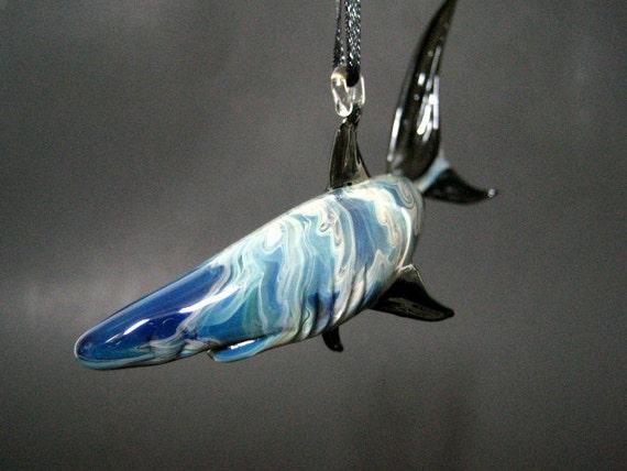 Lampwork Glass Shark Suncatcher, Deep Sea Blue, Black, Sealife Ornament
