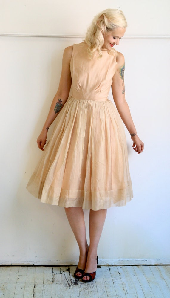 1950s Dress // Peaches & Cream // Vintage 1950s Party // Xsmall