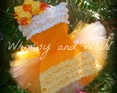 Candy Corn 3 Piece Corset Apron and Tutu outfit in Orange, Yellow and White Halloween, Dress Up, Pageant, Dance, Costume