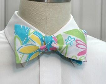 Men's Bow Tie, turquoise Garden Vista Lilly design, wedding bow tie, groom bow tie, prom bow tie, floral multi bow tie, yellow daisy bow tie