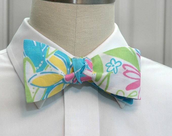 Men's Bow Tie, Garden Vista  turquoise multi Lilly floral bow tie, wedding bow tie, groom/groomsmen bow tie, prom bow tie, tuxedo accessory