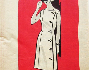 60s Mail Order 9165 Sheath Dress with Assymentric Button Front Closing - Size 12 Bust 32