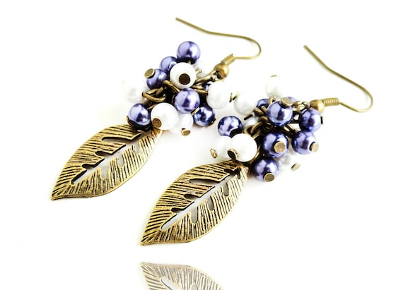 Get 15% OFF - Garden of Eden - Purple and White Glass Pearl Beads Antique Bronze Leaf Charm Dangle Earrings - Black Friday SALE