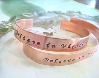 Believe In Miracles Cuff Bracelet, Inspirational Quote