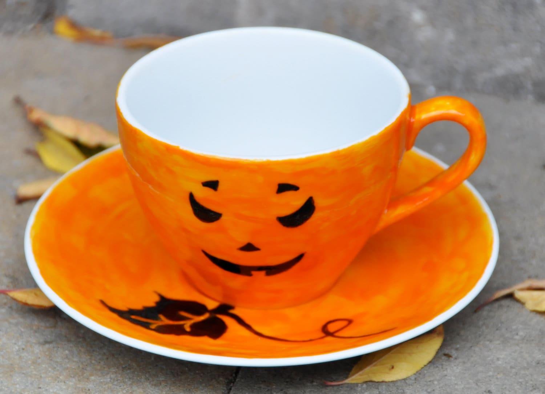 Halloween Pumpkin Coffee Cup And Saucer Orange And Black