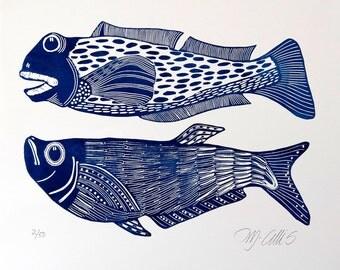 linocut, Big Boys, fish, blue and white, navy blue, fishing, gift for him, printmaking, beach house, blue, white, home interior, seaside