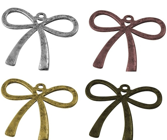 Bow Charms in silver plated, antique bronze or red copper  x 10 pcs