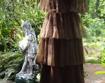 1970's Dark Brown Ruffled Tiered Dress