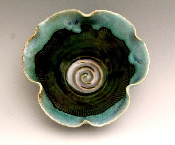 Flower Form Petals Handmade Pottery Bowl Peackock Green