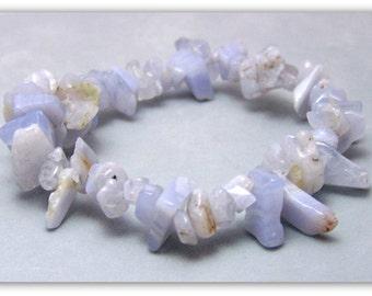 Stretch Bracelet - Gemstone Bracelet - Blue Lace Agate Bracelet, Blue Lace Agate Chips, Bead Bracelet, Gemstone Jewelry