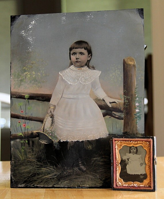 Great Photo Set / LARGE Victorian Painted Folk Art Tintype and Smaller of Same Little Girl