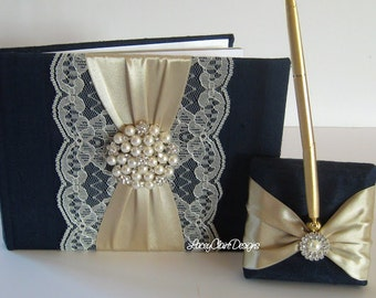 Wedding Guest Book and Pen Set - READY TO SHIP