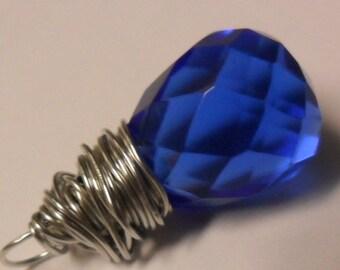 Sapphire Blue Faceted Teardrop Glass Briolette Pendant