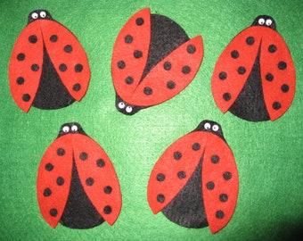 5 Ladybugs Felt Board Set with laminated rhyme