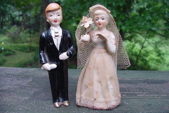 Late 50's Early 1960's Porcelain Bride and Groom Wedding Cake Topper