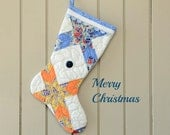 Christmas Stocking, Vintage Quilt, 1930s Quilt, Feedsack Fabrics in Star Pattern, Blue Orange on White, Old Blue Button, Hand Pieced Quilted