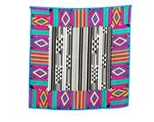 Adrienne Vittadini Designer Silk Scarf, 35 in. sq., Tribal Print, Bright Deep Jewel Tone Border, Black & White Center, Excellent Condition