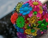 Bright Neon Brooch Bouquet with turtle accent - you choose the ribbon color, bridal wedding vintage jewelry bouquet