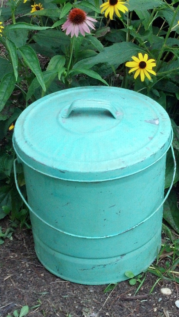 Vintage Painted  Galvanized Ash Can