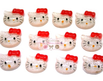 12mm Glittery face Kitty Inspired Cab 12 pieces - Choice of Red or black bow